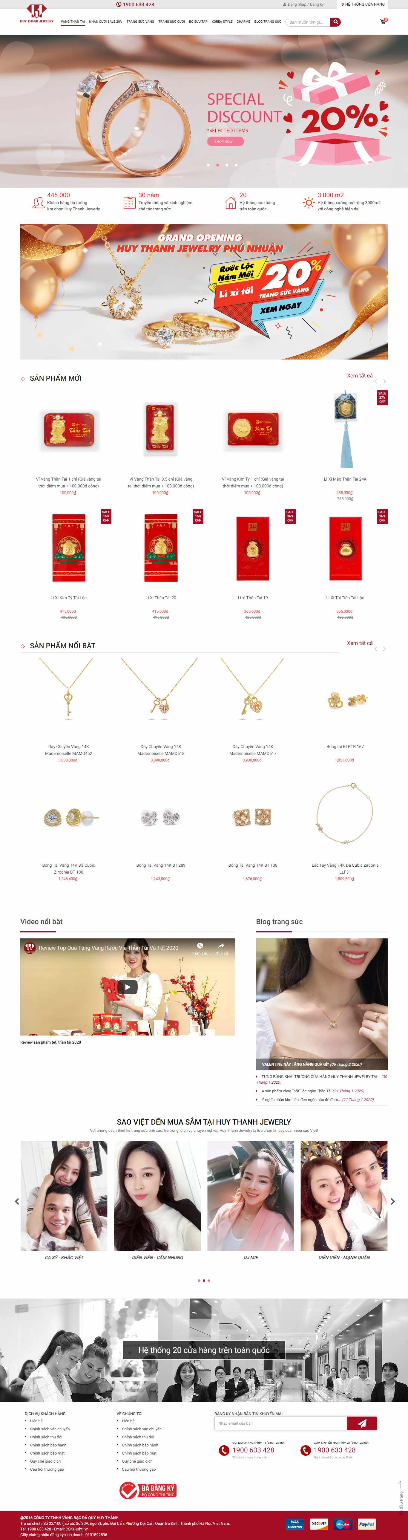 Thiết kế Website trang sức - huythanhjewelry.vn