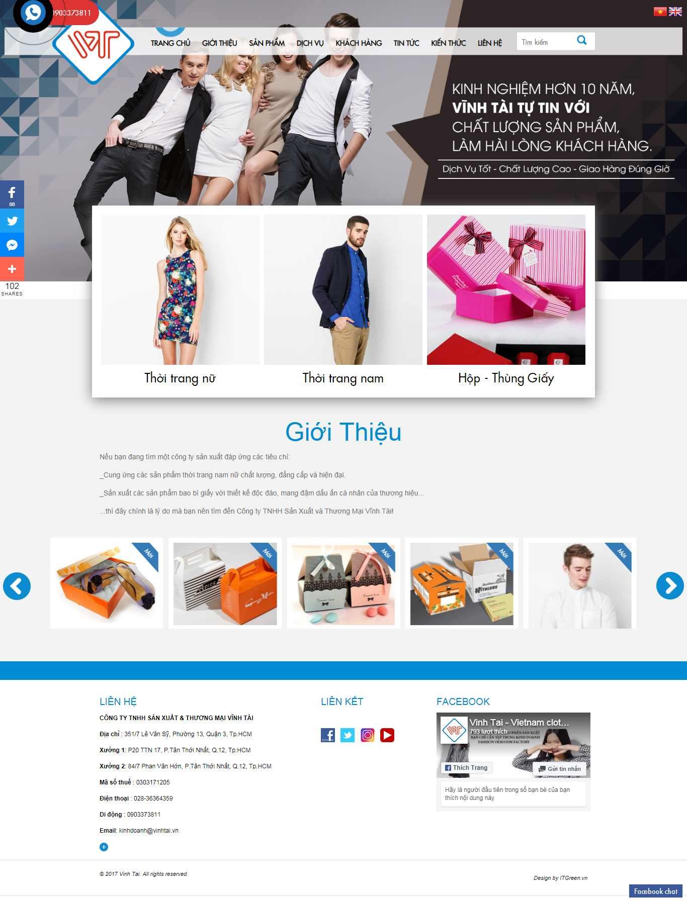 Thiết kế Website dệt may - vinhtai.vn