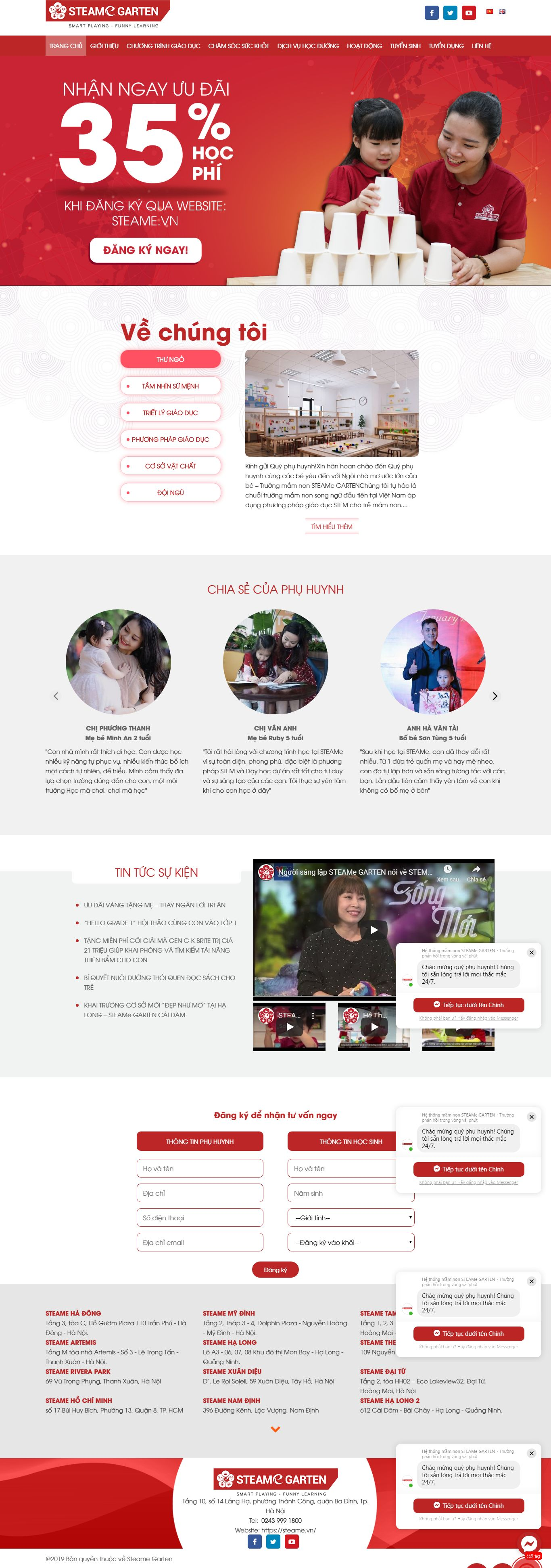 Thiết kế Website trường mầm non - steame.vn