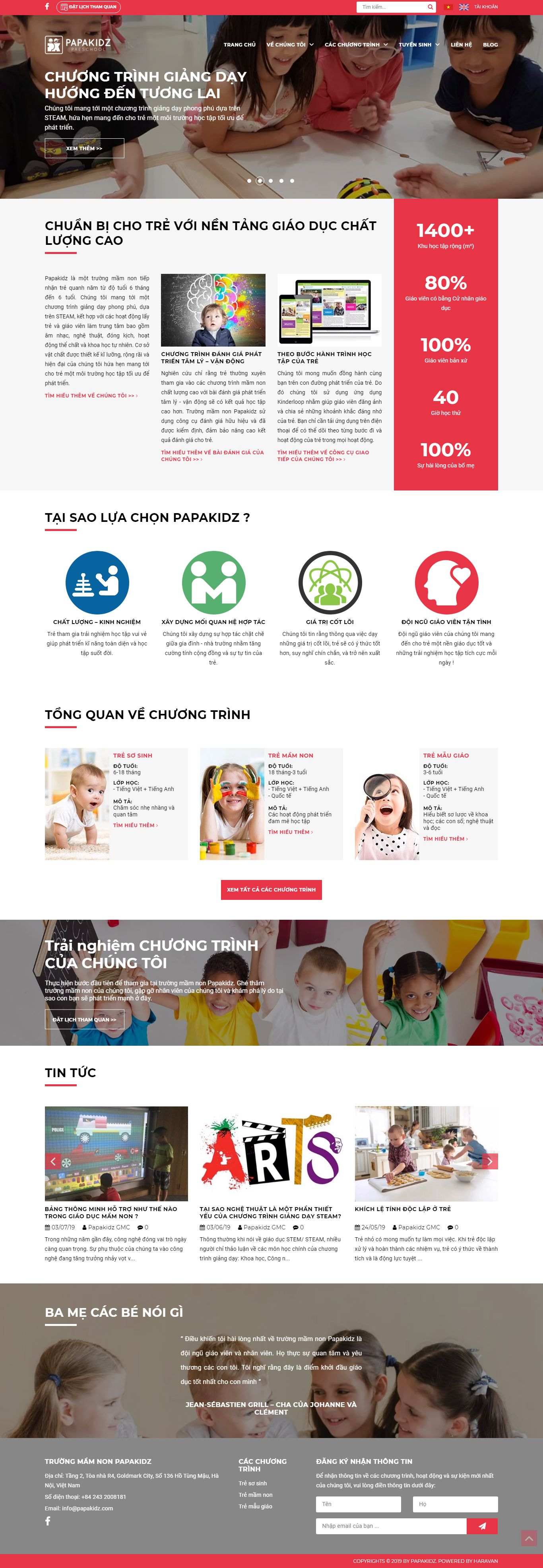 Thiết kế Website trường mầm non - www.papakidz.com