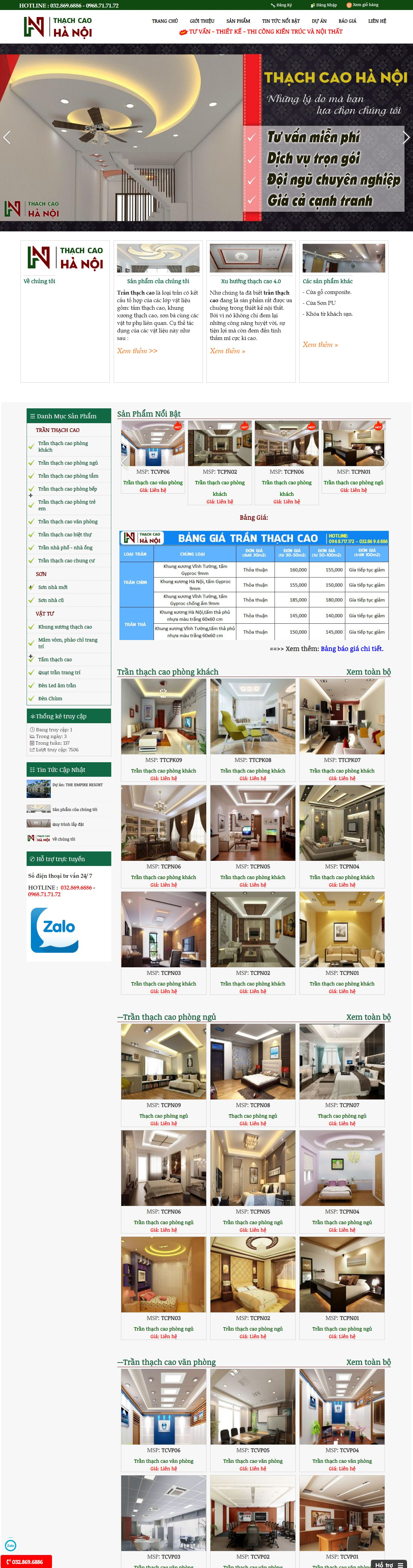 Thiết kế Website trần thạch cao - thachcaohanoi.info
