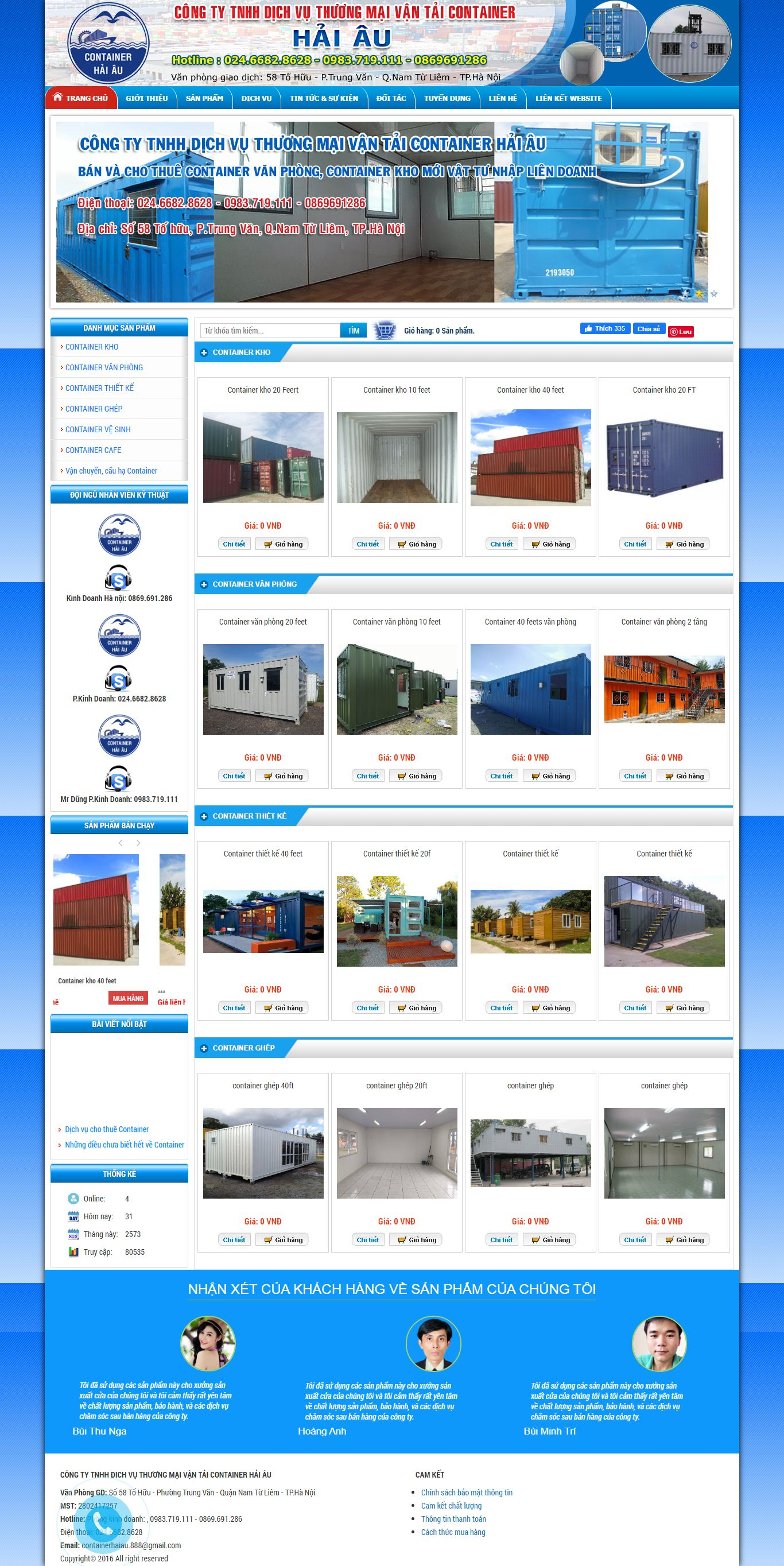 Thiết kế Website container - containerhaiau.com