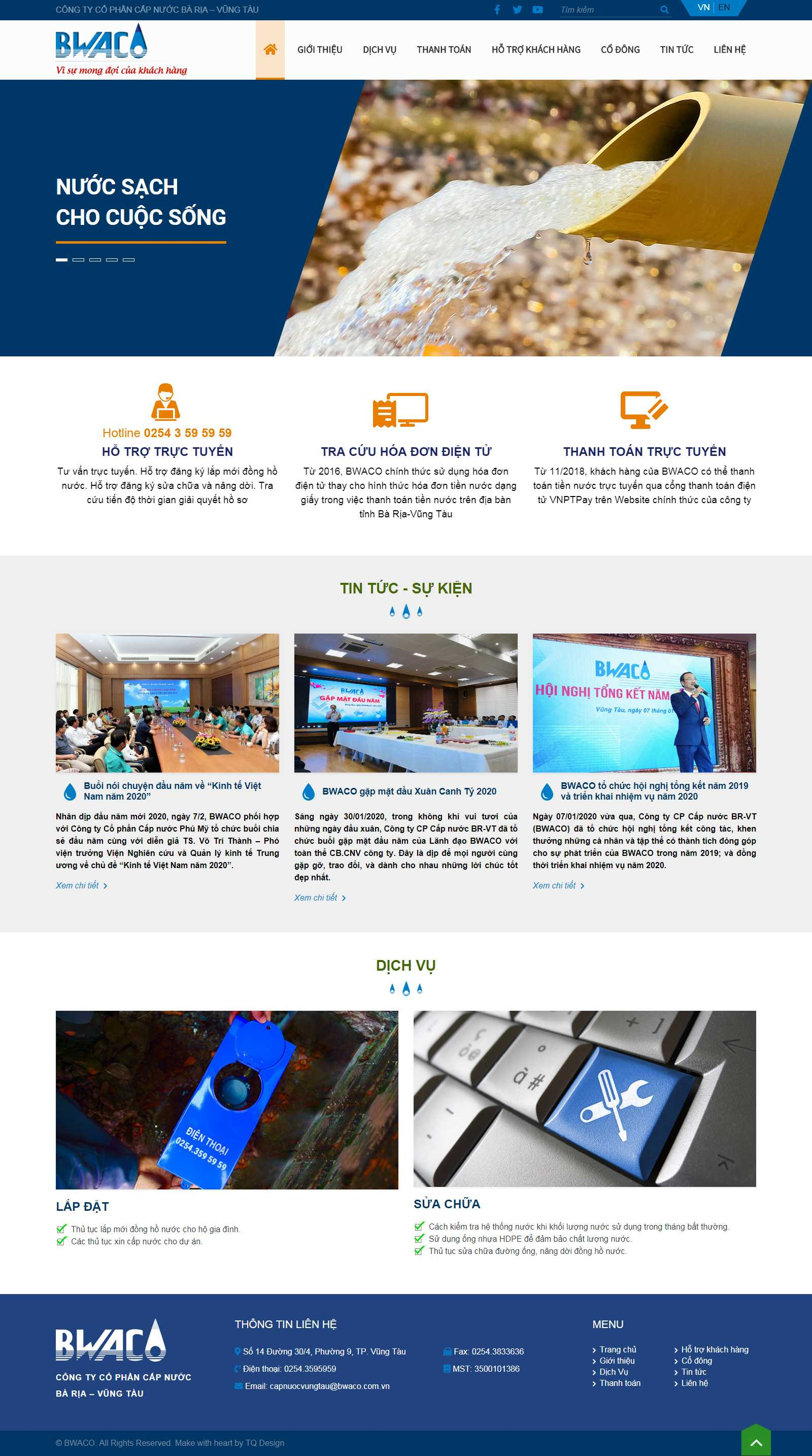 Thiết kế Website công ty may - www.bwaco.com.vn