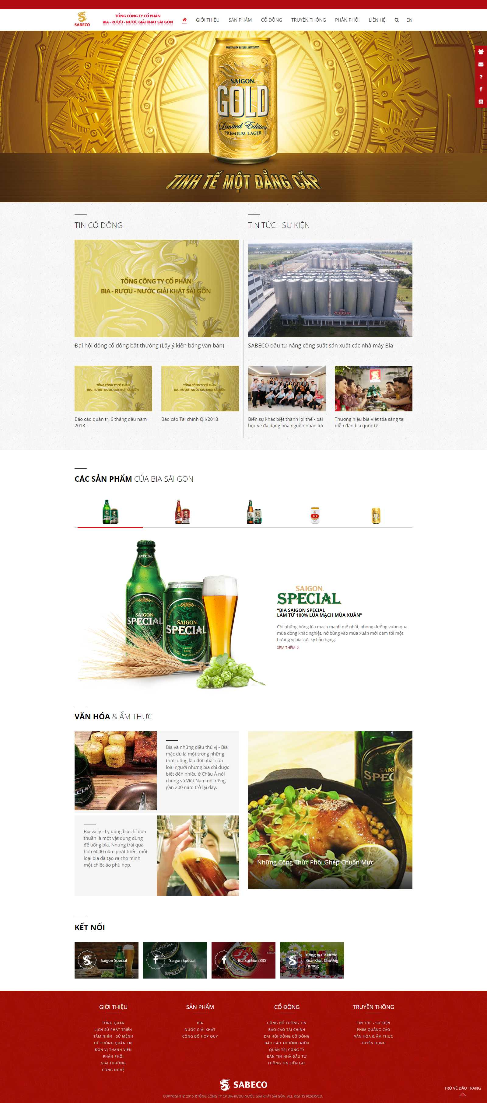 Thiết kế Website công ty may - www.sabeco.com.vn