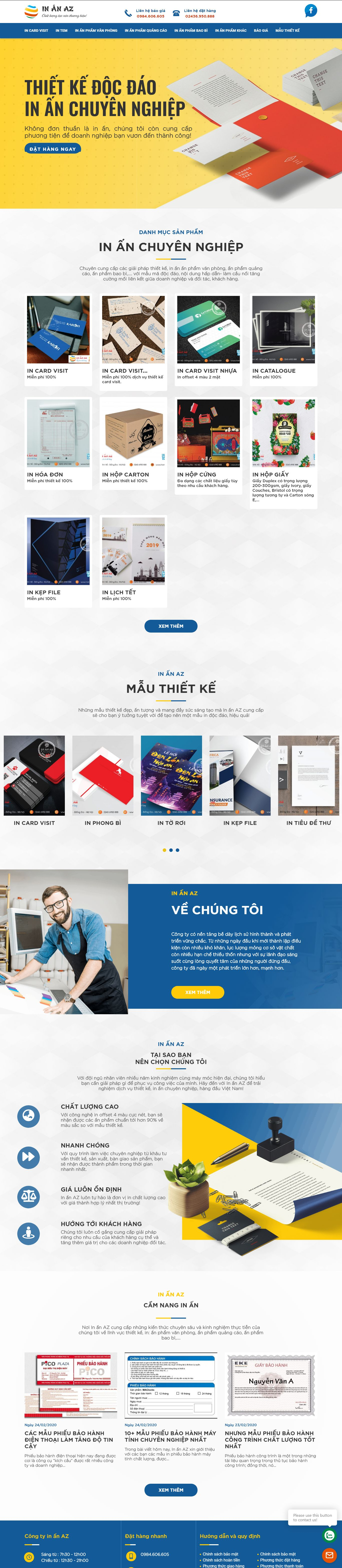 Thiết kế Website in card visit - inanaz.com.vn