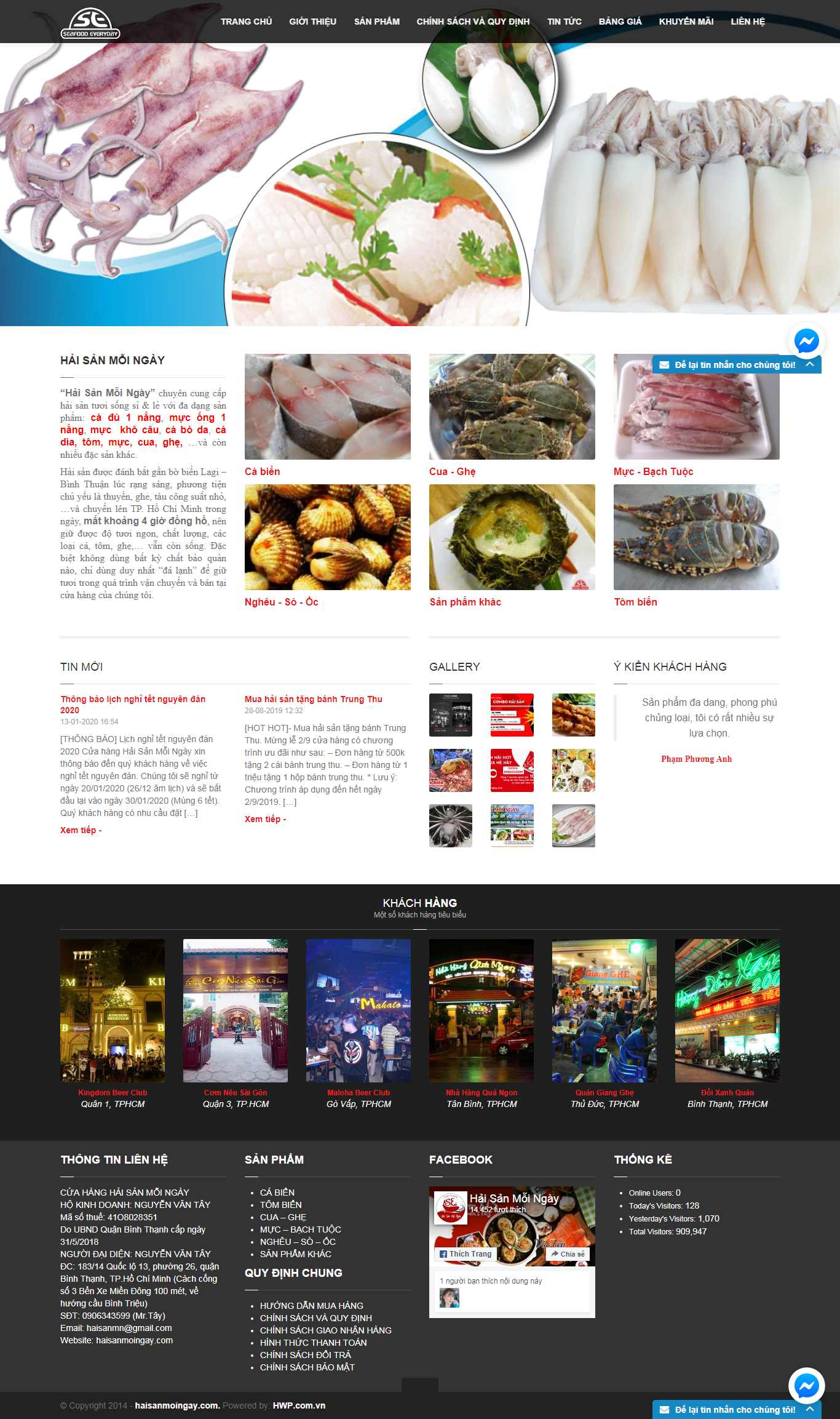 Thiết kế Website hải sản - haisanmoingay.com